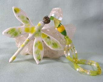 Ceramic Dragonfly Ornament with Lemon Lime Crystal Glaze and Beaded Hanger