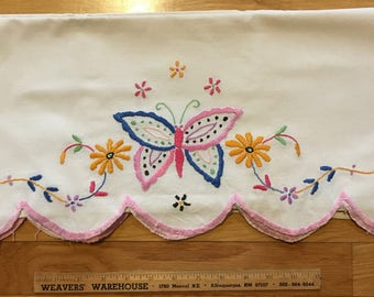 Butterfly pillow shams, hand embroidered, 2 in the set.