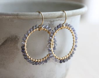 Hoop earrings - iolite earrings, hammered gold hoops wire wrapped with iolite - water sapphire earrings - iolite jewelry - gift for her