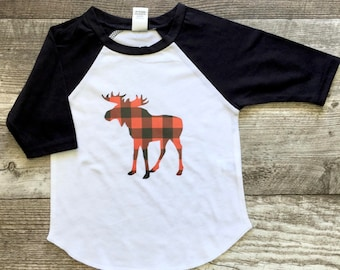 Girls Boys Unisex Red Black Buffalo Plaid Moose Baseball T Shirt modern graphic trendy tee sister sibling set black white Christmas Holiday