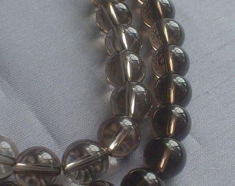 gemstone smoky smoky quartz smooth round bead 10 mm / 7.5 inch
