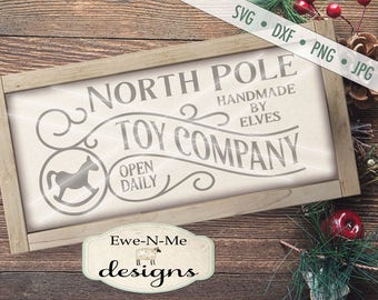 North Pole SVG - Toy Company svg - Christmas svg - North Pole Sign SVG - Rocking Horse SVG - Commercial Use svg, dxf, png and jpg