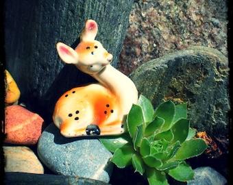 Tiny Porcelain Deer, fawn, vintage ceramic, terrarium figure