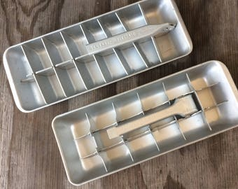 1950s Ice Cube Trays - 2 General Electric Ice Trays - Aluminum