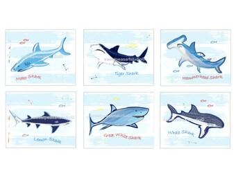 Shark Decor, Shark Art, Blue Stripe Art Prints, Shark Bath Decor, Shark Wall Art, Shark Art Prints, Shark Bedroom Decor, 8 x 10
