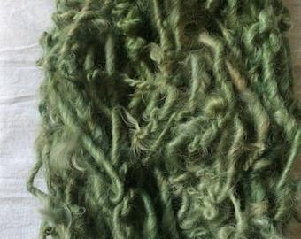 Druid Dreads, 32 yards handspun yarn, sage green art yarn, lockspun yarn, curly handspun yarn, bulky art yarn, chunky green yarn
