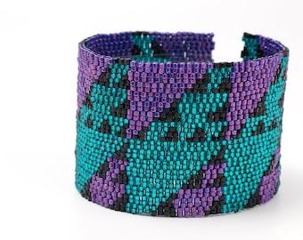 Beaded Cuff Bracelet - 80s Tastic, Green, Purple, Black, Seed Beads, Triangles, Beadwork,