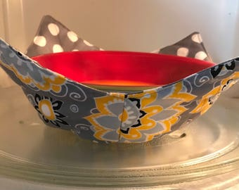 Reversible Microwavable bowl cozy, boho, polka dots