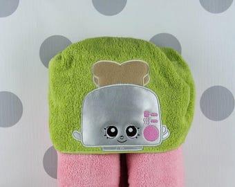Toddler Hooded Towel - Shopkins Toaster Hooded Towel – Shopkins Toaster Towel for Bath, Beach, or Swimming Pool