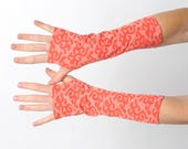 Coral red fingerless gloves, Orange coral jersey armwarmers, Coral orange arm warmers, Long fingerless gloves, Gift for women,  MALAM