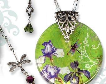 Petite Iris and Dragonfly Necklace - Reversible Glass Art -Voyageur - Nouveau Jardin Collection - Nouveau Plum Iris Garden