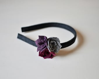 Felt Flower Headband - Gray and Purple Headband - Girl's Headband - Accessories for Kids