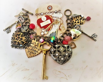 Romantic Charm Bracelet Chunky Hearts Keys Locks Love Vintage Syle Assemblage Jewelry Upcycled Betsey Johnson Charms Beads Rhinestones Bling