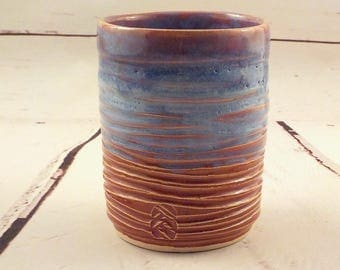 Stoneware Tumbler - Ridged Cylinder Vase - Handleless Pottery Cup - Cinnamon Tan and Blue - Plant Pot - Pencil Holder - Ready to Ship  m306