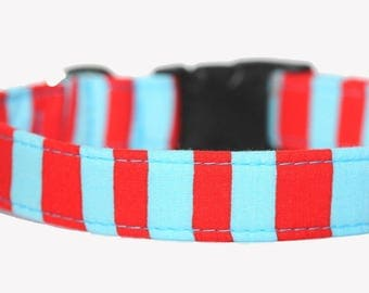 Nautical Dog Collar, Engraved Collar optional, Personalized, Dr Seuss Stripe