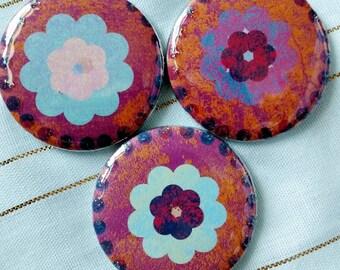 Magenta flower magnets set of 3