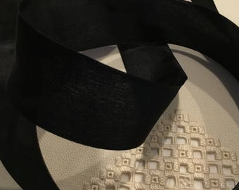 French Wired Ribbon Black Knight 1-1/2 inch wide by 3 yds