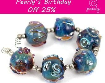 Pearly Round Metallic Stones Lampwork beads (6) SRA