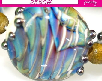 Pearly Lampwork  Silver Waves (7)
