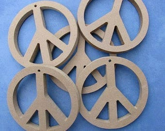 "MDF 5 Peace Love Sign Ornament Bases Shapes 4"" in Diameter Mosaic Tile Paint Beads"