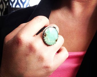 Pool of Youth - Chrysoprase Sterling Silver Ring Size 8