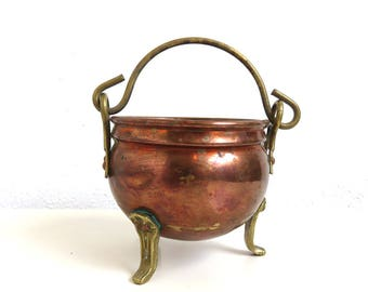 "Vintage Brass Copper Planter, Old Small Kettle 3.75"" tall, Boho Home Decor Indoor Gardening Plant Care, Succulent Planter, Patina"