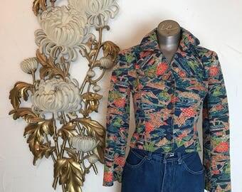 1970s jacket batik jacket silk jacket fitted jacket 70s jacket size x small vintage jacket novelty print