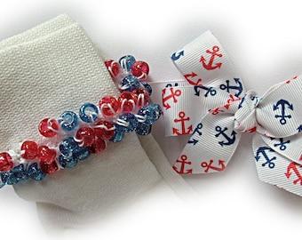 Kathy's Beaded Socks - Navy and Red Anchors Socks and Hairbow, school socks, pony bead socks, clear pony beads, red blue pony beads
