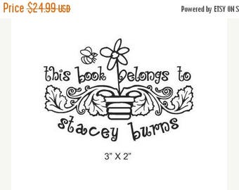 Xmas in July Whimsical Flower and Bee Personalized Bookplate Rubber Stamp H34