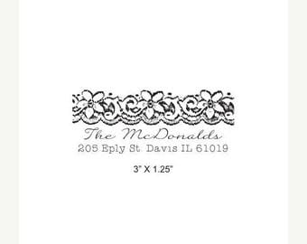 Xmas in July Vintage Lace and Script Custom Return Address Rubber Stamp AD267