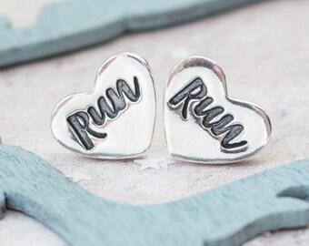 Silver Heart Runners Earrings, Runners Earrings,marathon earrings, running jewellery, gift for runner, running, motivational earrings