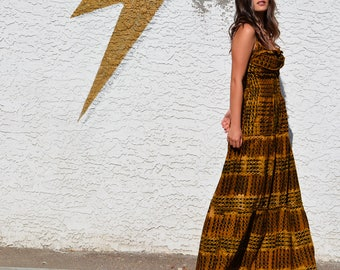 1970's Tiered and Ruched Maxi Dress - Sz S