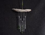 Woodland Wind Chime, Green Glass Wind Chime with Oregon Driftwood, Leafy Wind Chime, Windchime,Glass Chime