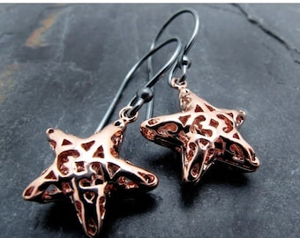 star earrings, gold earrings, sterling silver, rose gold star earrings, celestial, gift for her, astronomy, star jewelry, Holiday jewelry