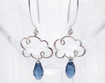 cloud earrings, cloud jewelry, cloud gift, raindrop earrings, rain cloud earrings, weather jewelry, rain earrings, meteorology gift,