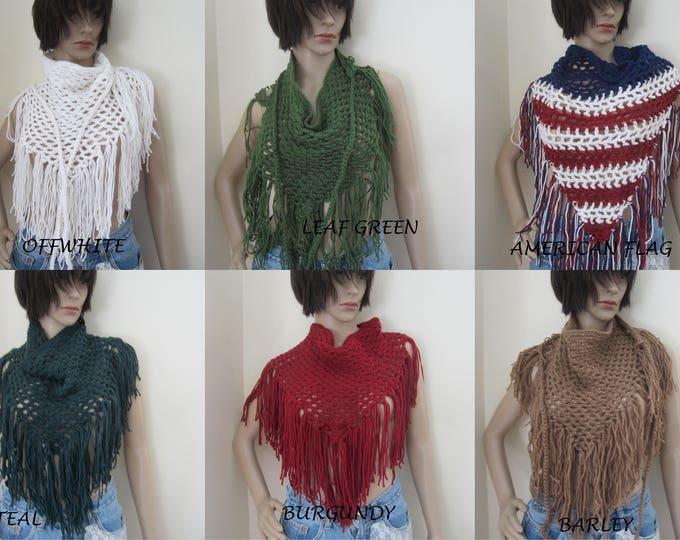 SCARF/GYPSY FRINGE Hip skirt,  festival clothing, Crochet Sarong, beachcover up, festival, gypsy clothing, boho chic, hippie, ready to ship