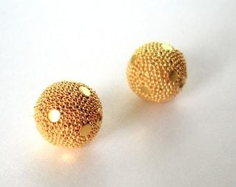 Gold Vermeil Round Bali Beads 12mm 1 piece