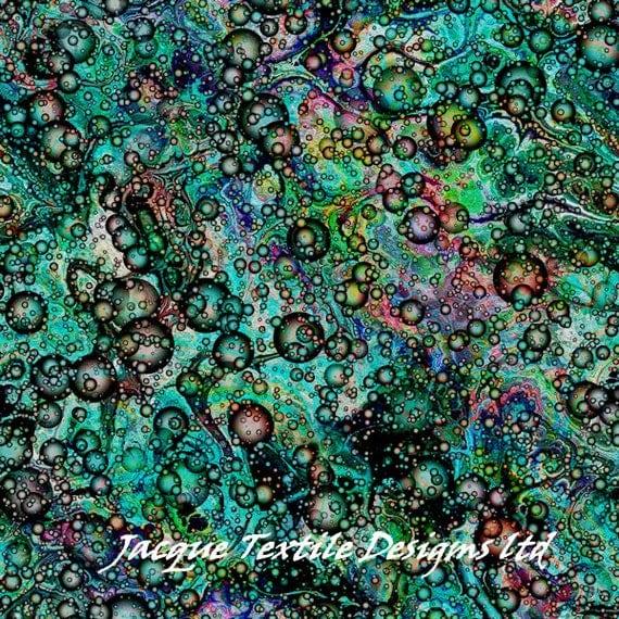Vibrant Teal Green Bubbles Handmade Artist Cotton Art Quilting Fabric Fiber Art Mixed Media Fabric