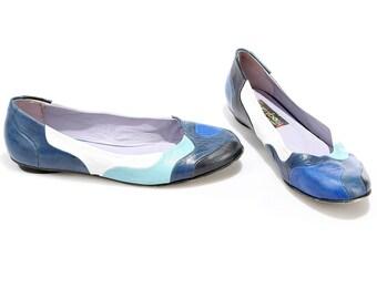 Blue Ballerinas 90s Color Block Vivid Flat Shoes Soft Leather Low Heel Shoes Slip On 1990s Vintage High Quality Us wom 7 UK 4.5 EUR 37