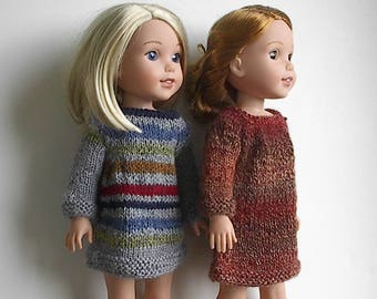 "14.5"" Doll Clothes Knit Dresses Handmade to fit Wellie Wishers dolls - Gray Striped or Brown Rust Dress - Your Choice"