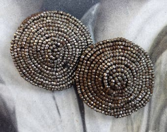 Antique Steel Beads Beaded Shoe Clips