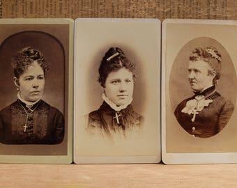 3 Antique Photographs Woman 1800s Vintage Sepia Cabinet Cards