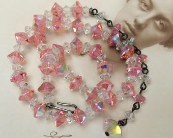 Vintage Crystal Necklace Pink Beads Choker