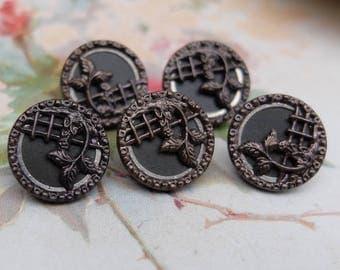Vintage Metal Buttons Victorian Set of 5