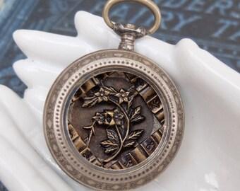 Vintage 800 Silver Empty Pocket Watch Case No Crystal