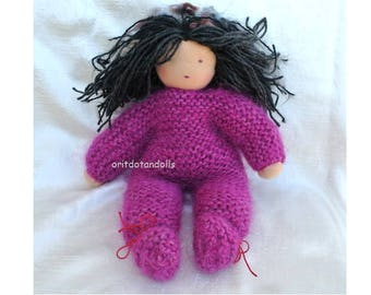 Hand knitted Waldorf doll 13inch handmade of natural materials