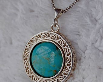 Blue Earth Genuine Turquoise and Sterling Pendant