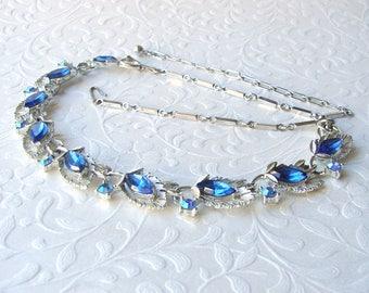 Something Blue Rhinestone Necklace 1950s Vintage Jewelry Large Sapphire Rhinestones Wedding Bridal Formal Bridesmaid Pageant Ballroom Prom