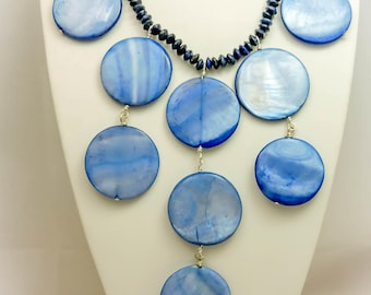 Lapis and Blue Shell Statement Necklace