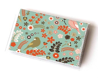 Vinyl Card Holder - Shabby Chic Birds / green, birds, floral, flowers, cute, wallet, card case, vinyl wallet, vegan, small, pretty